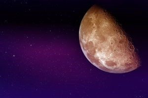 Our Moon - Real Moon Photo Mixed with Cool Night Sky Illustration. Purple-Violet Night Sky Illustration