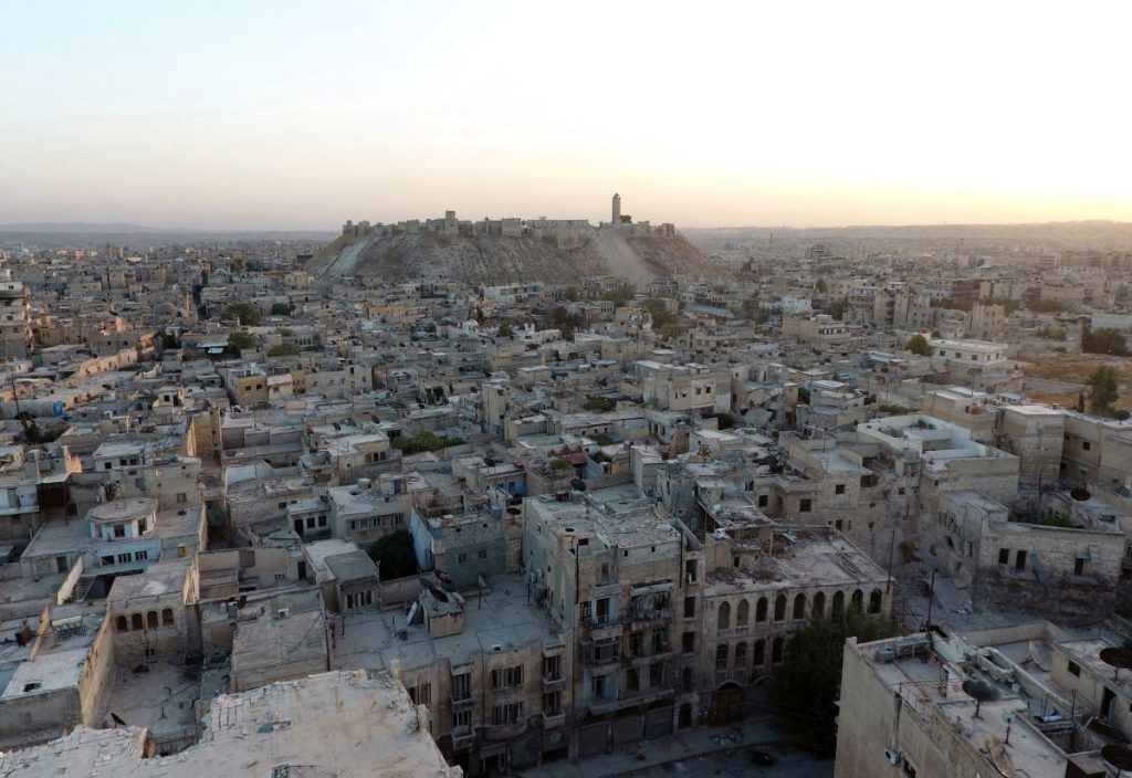 A general view taken with a drone shows Aleppo's historic citadel, controlled by forces loyal to Syria's President Bashar al-Assad, as seen from a rebel-held area of Aleppo, Syria, October 12, 2016. REUTERS/Abdalrhman Ismail